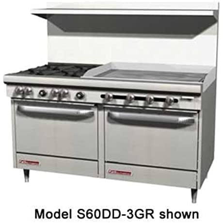 Southbend S60CC 3TR S Series 60 Gas Restaurant Range W 4 Open Burners 36 Right Thermostatic Griddle 2 Cabinet Bases
