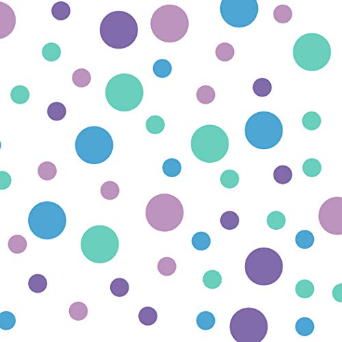 Set of 60 Circles Polka Dots Vinyl Wall Graphic Decals Stickers (Lilac/Lavender/Mint Green/Ice Blue)