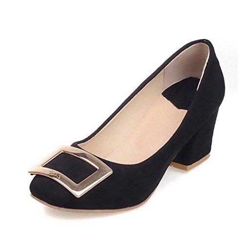 VogueZone009 Damen Mattglasbirne Mittler Absatz Ziehen auf Quadratisch Zehe Pumps Schuhe Schwarz