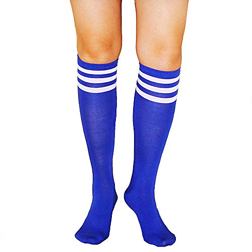 Unisex Striped Knee High Socks Rainbow Women Girls Over Calve Athletic Soccer Tube Cool Fun Party Cosplay Socks, Blue+White Stripe, One Size 6-11 -
