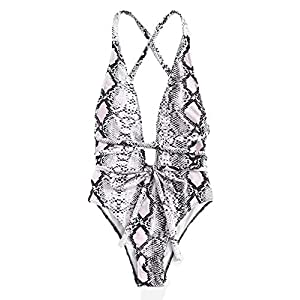 SweatyRocks Women's Sexy Bathing Suits Criss Cross Tie Knot Front Deep V Open Back Leopard One Piece Swimwear