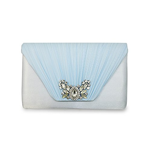 Lunar Women's Allure Diamante Clutch Bag in Pale Blue or Pale Pink Blue