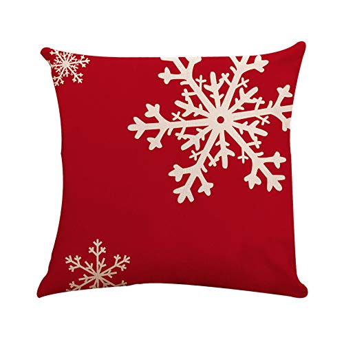 TWGONE Red and White Christmas Pillow Covers 18x18 Square Cushion Case Toss Hidden Zipper Closure(18