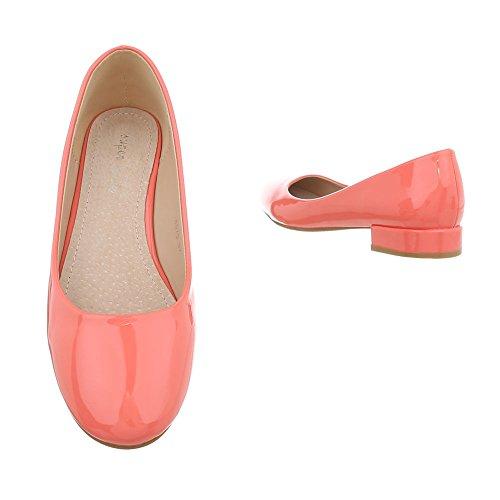 8873 Classiques Ballerines Bloc design Rot Chaussures Femme Ital qwgRx07B