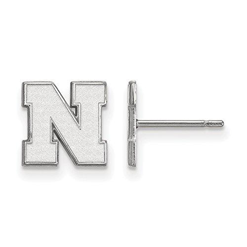 LogoArt 10k White Gold University of Nebraska XS Earrings Post 1W070UNE by LogoArt