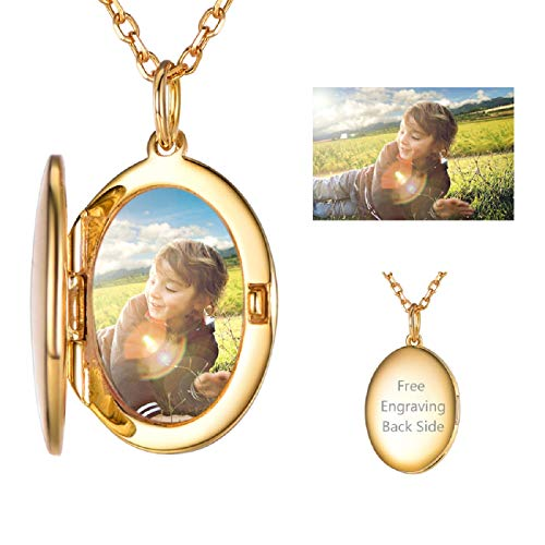 SILVERCUTE Full Color Photo Customized Oval Locket Necklace for Women 18K Gold Plated Sterling Silver Rolo Chain Memorial Picture Personalized Pendant, 22