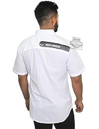 Mens Textured Dobby Willie G Skull Graphic White Woven Shirt 96125-18VM