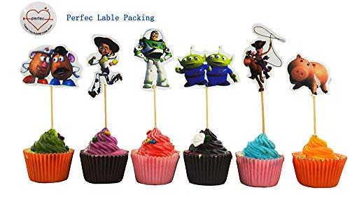 Toy Story Themed Decorative Cupcake Toppers Party Pack for 24 Cupcakes -