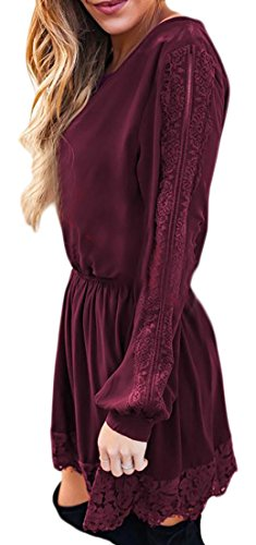 Casuale Rosso In Womens Vino Pizzo Girocollo Vestito Cruiize Lunga Manica Solido SAWvwW46q7