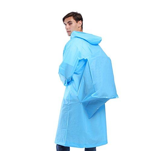 Giacca Cappuccio Rainwear Adulto Hot Impermeabile Trasparente Lunga blu Con Uxradg Outdoor M Pulsante IS4AgIq