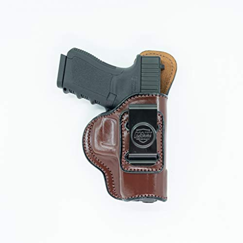 Maxx Carry Inside The Waistband Leather Holster for Glock 20, 21. IWB Holster with Clip Conceal Carry. Brown Right Hand.