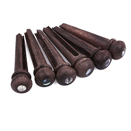 Rosenice 6pcs Rosewood Guitar Bridge Pins End Pin Set
