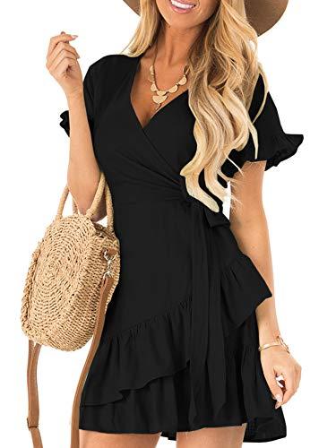 (Kathemoi Womens Ruffle Dresses Summer Cute V Neck Short Sleeve Beach Wrap Mini Dress Black)