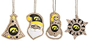 Iowa Hawkeyes Vintage Burlap Christmas Ornament Set of 4
