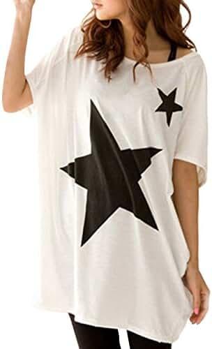 ZANZEA Women's Cotton Short Sleeve Printed Tee Shirt Top Blouse Loose Mini Dress