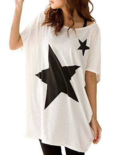 ZANZEA Womens Oversized Baggy Five-point Star Tops Round Neck Tee T-shirt (US 14, White)