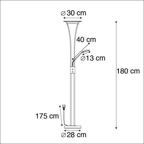 1 x 20 Watt IBIZA Vidrio//Met/álica Alargada Incluye LED Max QAZQA Moderno Uplighter moderno bronce con brazo de lectura LED