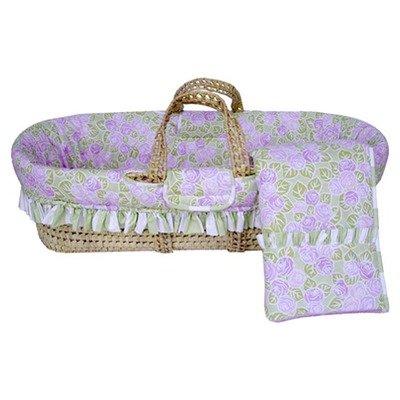 Bacati - Flower Basket Lilac/Green Moses Basket (Bacati Flower Basket)