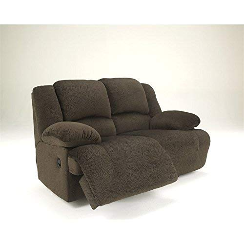 Ashley Furniture Signature Design - Toletta Recliner Loveseat - Manual Pull Tab Reclining - Contemporary - Chocolate
