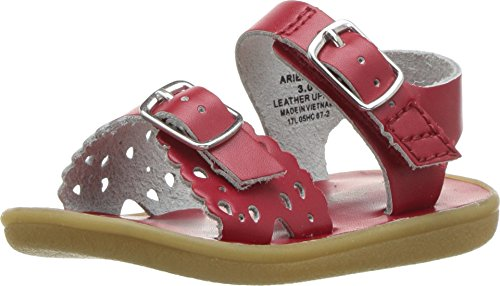 (FOOTMATES Girl's Ariel Perf Sandal Apple Red - 1112/12 Little Kid M )