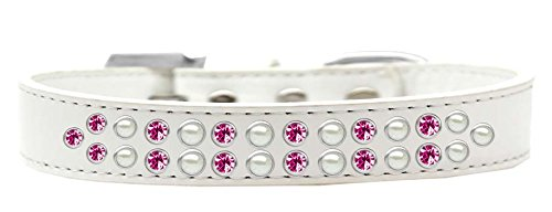 Mirage Pet Products Two Row Pearl and Pink Crystal White Dog Collar, Size 20 by Mirage Pet Products