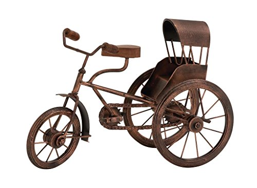 "UMA Deco 79 26856 Metal Wood Tricycle Sculpture, 14""W/10""H"