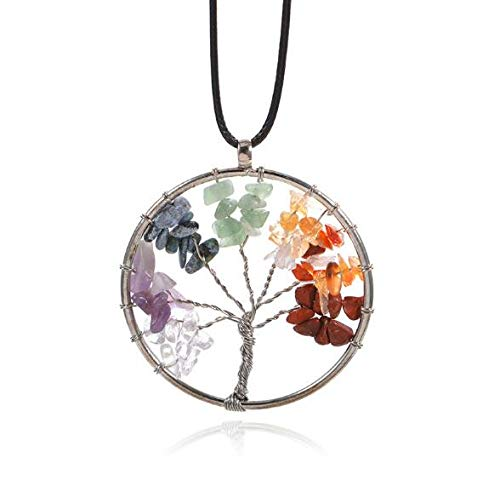 (Auch Tumbled Gemstone Tree of Life Necklace Pendant Drop Amethyst Rose Crystal Earrings Gemstone Chakra Jewelry)