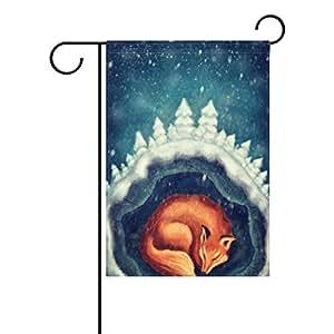 ALAZA dormir de invierno animales Fox decorativo jardín bandera poliéster para casa jardín decoración