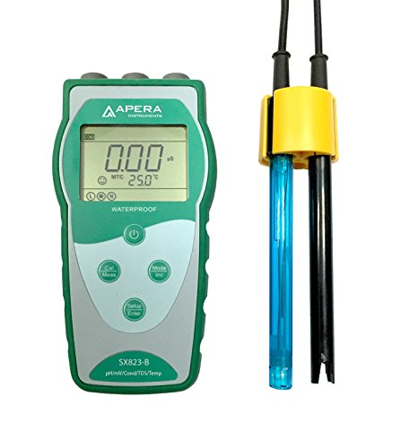 Apera Instruments SX823-B Portable Multi-Parameter Meter (pH/EC/TDS/Temp.), Accuracy: ±0.01 pH; ±1% F.S, Testing pH/Conductivity/TDS/Temperature simultaneously ()