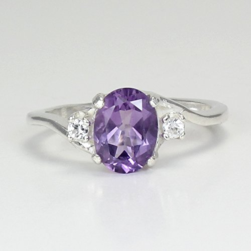 Vvs2 Ring (Natural Amethyst Sterling Silver Ring with Diamond Accents)