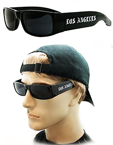 Dark Lens Locs Sunglasses with LOS Angeles Logo on the - Sunglasses Angeles Los