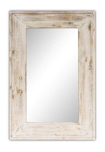 Emaison 36 x 24 inches Wall Mounted Decorative Mirror, Rustic Wood Framed -