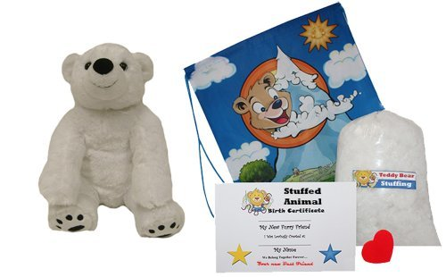 Make Your Own Stuffed Animal Polar Bear No Sew - Kit With Cute Backpack  by Stuffems Toy Shop