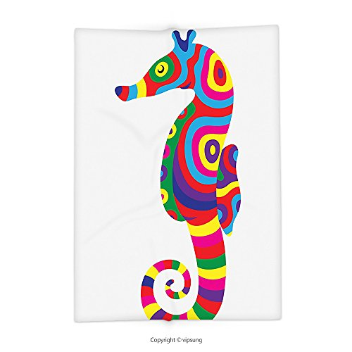 Custom printed Throw Blanket with Animal Decor Graphic of Funny Several Colored Seahorse Fauna Bony Fish Retro Maritime Object Multi Super soft and Cozy Fleece (Bony Monster Halloween)