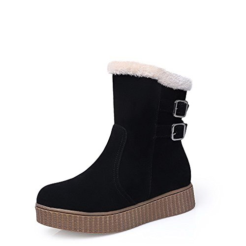 Round Allhqfashion Low Closed Solid Boots Low Frosted Heels Top Black Toe Women's UwpFwE
