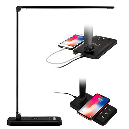 Sunfuny LED Desk Lamp with Qi Wireless Charger, USB Charging Port, College Table Lamp, Bedside Table Nightlight, 5 Lighting Modes&5 Dimmer Levels, Auto Timer, Touch Control, Black
