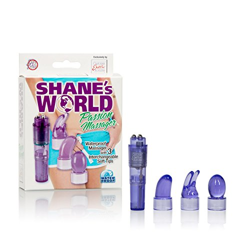 CalExotics Shane's World Passion Massager Kit - Waterproof Bullet Vibrator - Adult Toys for Couples - Pocket Vibrator with Interchangeable Tips - Purple