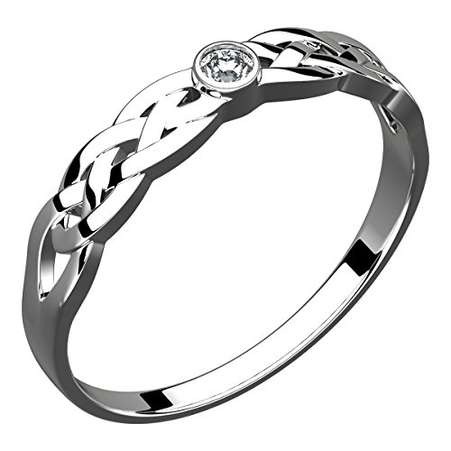 - UPCO Jewellery Sterling Silver Trinity Knot Celtic Ring, Cubic Zirconia Stone (Weight 3 gms) - 6