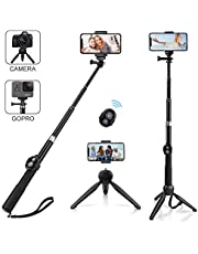 Alfort Selfie Stick, Selfie Stick Bluetooth Tripod Aluminum Alloy Folding Extendable Wireless with Bluetooth Remote Control for iPhone X / 8 / 7Plus, Samsung S9 / A8 2018, Huawei P20 / P10 (Black)
