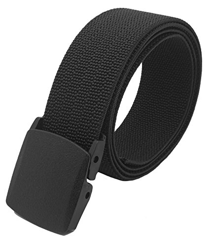 Mens Airport Safe Black Tactical Heavy Duty Elastic Military Belt with Plastic Cam Buckle Adjustable Up to 80