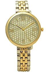 Two Tone Pave Mother of Pearl Roman Numeral Slim Band and Case Glossy Women Link Watch