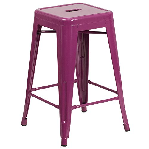 24' Kitchen Stools - Flash Furniture 24'' High Backless Purple Indoor-Outdoor Counter Height Stool