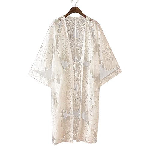 Suroomy Embroidered Women Long Swimsuit Bikini Cover up Lace Bathing Suit Cover ups Ivory