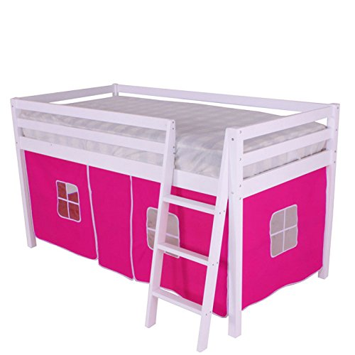Noa and Nani Shorty Cabin Bed Pink Tent,Midsleeper Ontario in White