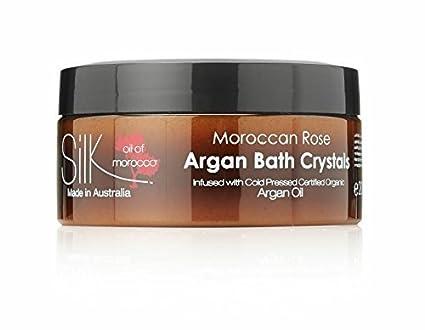 Seta olio of marocco argan cristalli da bagno in rosa oil sali