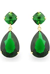 JanKuo Jewelry Gold Tone Angelina Jolie Inspired Bridal Prom Emerald Color Drop Earrings