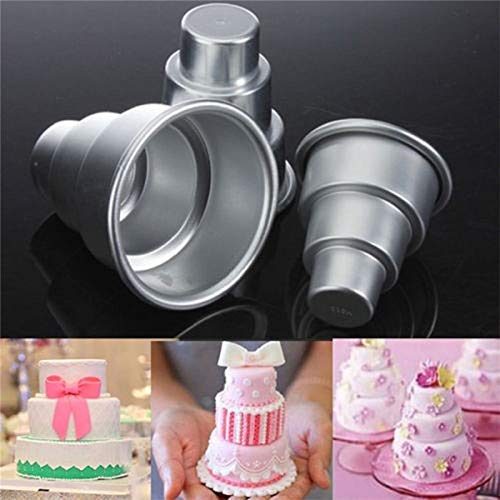 3 Tier - Chenglan Birthday Party Cake Trays Mini 3 Tier Pan Tins Cupcake Pudding Pizza Molds Diy Home Decors - Unit Trolley Console Farmhouse Floor Over Sink Indoor Stand - Three Mini Pan Cake Tier