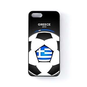 Greece Football World Soccer Team 2014 - Greek Fans Flag III Carcasa Protectora Snap-On en Plastico Negro para Apple® iPhone 5 / 5s de UltraFlags + Se incluye un protector de pantalla transparente GRATIS