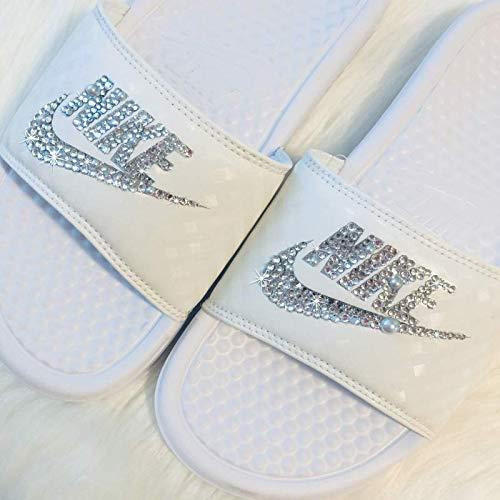 62bc73896 Swarovski Nike Slides Wedding All White Sandals Slip On Custom Bedazzled  Shoes By SparkleBoutique2U
