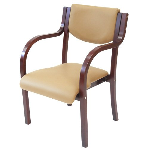 ダイニングチェア 完成品 木製 椅子 ダイニングチェアー スタッキングチェア 肘付 LDCH-2-S (ブラウンフレーム×ベージュ) B01B15MQO0 ブラウンフレーム×ベージュ ブラウンフレーム×ベージュ